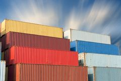 Container handling and storage in shipyard, Business transportat Stock Photo