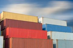 Container handling and storage in shipyard, business transportat Royalty Free Stock Image
