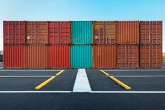 Container handling and storage in shipyard, Business transportat Stock Images