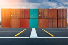 Container handling and storage in shipyard, Business transportat Royalty Free Stock Photos
