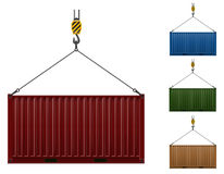 Container hanging on the hook of a crane vector illustration Stock Photo