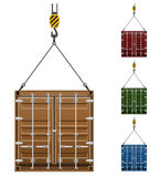 Container hanging on the hook of a crane vector illustration Stock Photos
