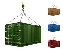 Container hanging on the hook of a crane vector illustration Royalty Free Stock Image