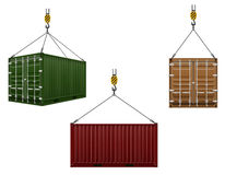 Container hanging on the hook of a crane vector illustration Stock Image