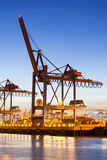 Container Harbor Crane at Night Stock Photography
