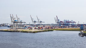 Container harbor in Hamburg, Germany, editorial Stock Photography