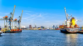 The container harbor of Rotterdam in the Netherlands royalty free stock photos