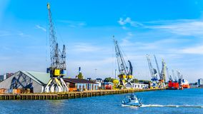 The container harbor of Rotterdam in the Netherlands royalty free stock images