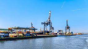 The container harbor of Rotterdam in the Netherlands royalty free stock photo