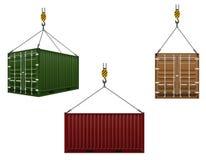 Container het hangen op de haak van een kraan vectorillustratie Stock Afbeelding