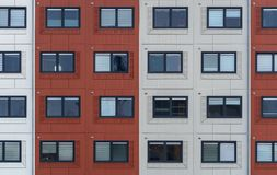 Container homes for students and asylum seekers stock images