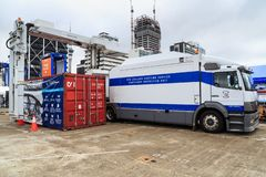 A container inspection unit of the New Zealand customs service stock photography