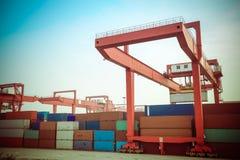 Container intermodal yard Stock Photo