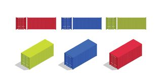 Container isometric and from front set collection with various color royalty free illustration