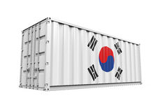 Container with Korea Flag Stock Images