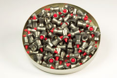 Container of Lead Air Gun Pellets. For Hunting stock image