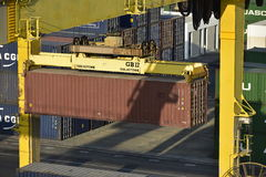 Container Lift, Harbour of Khor Fakkan, United Arab Emirates Stock Photo