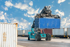 Container lifting truck in the storage yard., Business transportation. Stock Images