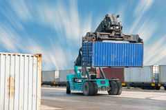 Container lifting truck in the storage yard., Business transportation. Stock Photos