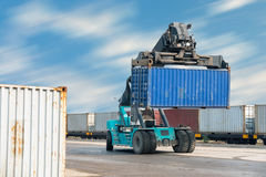 Container lifting truck in the storage yard., Business transportation. Stock Image
