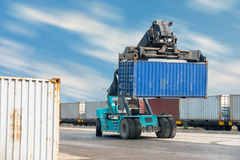 Container lifting truck in the storage yard., Business transportation. Stock Photo