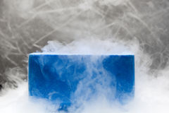 Container with liquid nitrogen. In bio lab under studio lights Royalty Free Stock Images