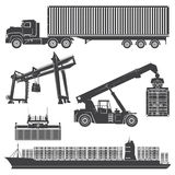 Container loader gantry crane  ship  vessel Royalty Free Stock Images
