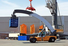 Container loader - reach stacker in the test area of Liebherr cr Royalty Free Stock Image