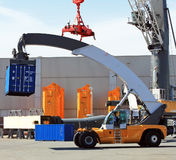 Container loader - reach stacker in the test area of Liebherr cr Stock Images