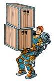 Container loader. working in the exoskeleton. Pop art retro vector illustration kitsch vintage drawing vector illustration