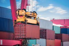 Container loading and unloading closeup Stock Image