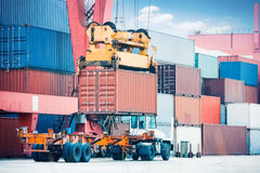 Container loading and unloading Royalty Free Stock Photos