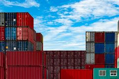 Container logistic. Cargo and shipping business. Container ship for import and export logistic. Container freight station. stock photo