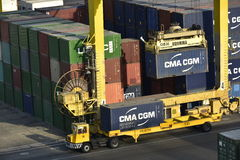Container Lorry, Harbour of Khor Fakkan, United Arab Emirates Royalty Free Stock Photos