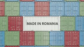 Container with MADE IN ROMANIA text. Romanian import or export related 3D animation stock footage