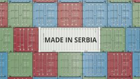 Container with MADE IN SERBIA text. Serbian import or export related 3D animation stock video footage