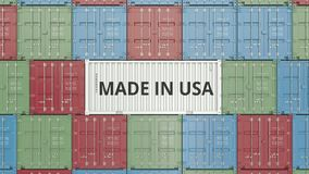 Container with MADE IN USA text. American import or export related 3D animation