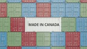Container met GEMAAKT IN de tekst van CANADA De Canadese invoer of de uitvoer bracht het 3D teruggeven met elkaar in verband vector illustratie