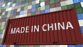 Container met Gemaakt in de titel van China De Chinese invoer of de uitvoer bracht het 3D teruggeven met elkaar in verband stock illustratie