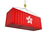 Container met Hong Kong Flag en Crane Hook Royalty-vrije Stock Foto's