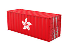 Container met Hong Kong Flag Isolated Stock Foto