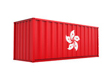 Container met Hong Kong Flag Isolated Stock Illustratie