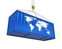 Container met Wereldkaart en Crane Hook Stock Foto