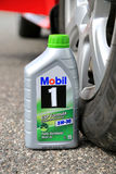 Container of Mobil1 Fully Synthetic Motor Oil Royalty Free Stock Images