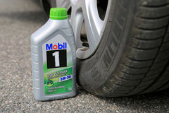 Container of Mobil1 Fully Synthetic Motor Oil Royalty Free Stock Photos