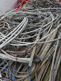 Container with old electrical wires of various sizes and colors Stock Image