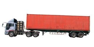 Container op aanhangwagenvrachtwagen Royalty-vrije Stock Afbeeldingen