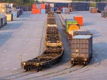Container op treinen royalty-vrije stock fotografie