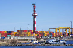 Container operation in port. Royalty Free Stock Image