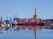Container operation in port. Stock Image